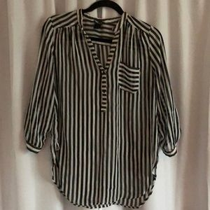 Wet seal striped sheer blouse